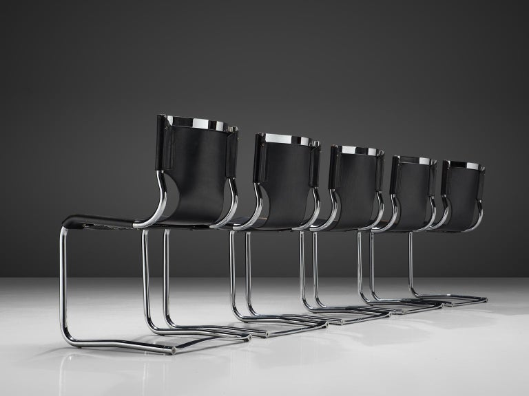 Mid-Century Modern Claudio Bartoli Set of Tubular Dining Chairs For Sale