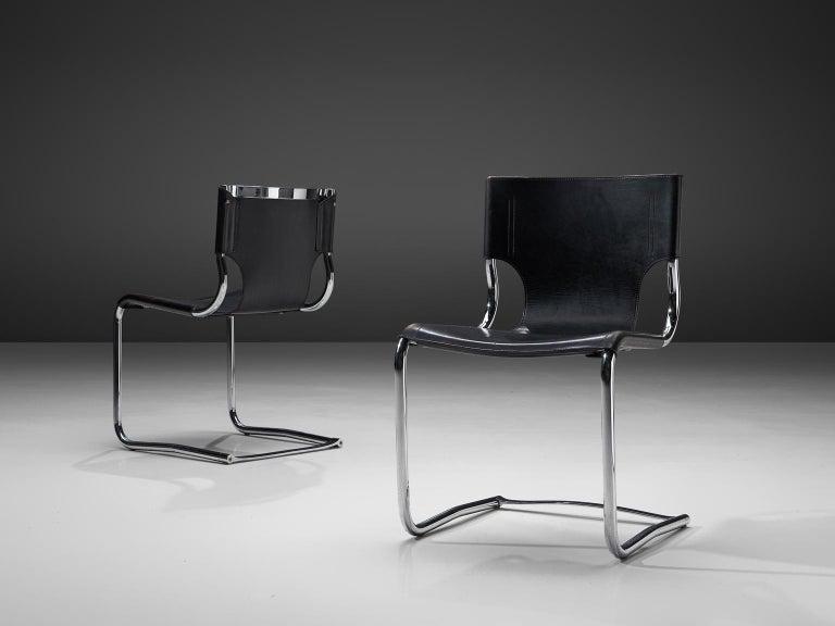 Italian Claudio Bartoli Set of Tubular Dining Chairs For Sale
