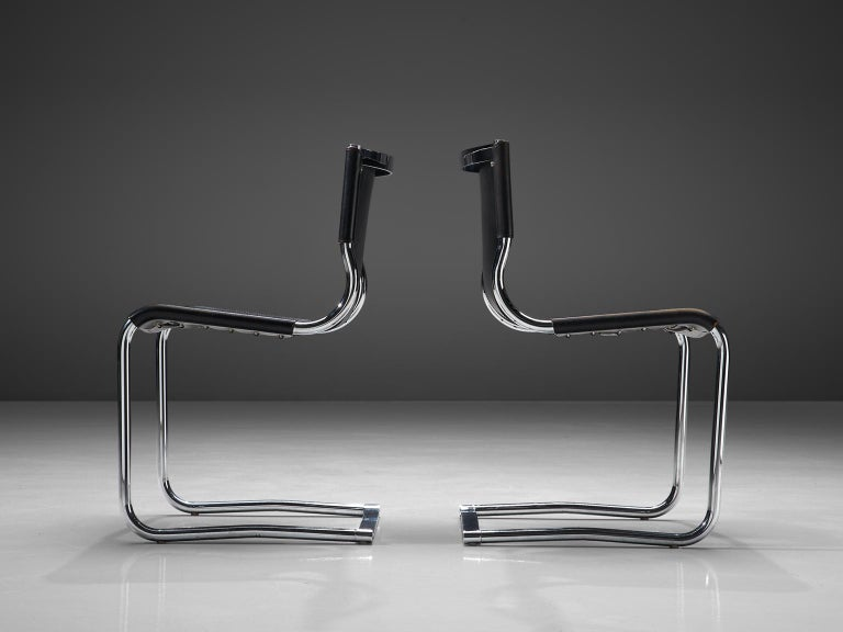 Claudio Bartoli Set of Tubular Dining Chairs In Good Condition For Sale In Waalwijk, NL