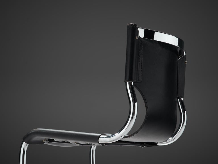 Late 20th Century Claudio Bartoli Set of Tubular Dining Chairs For Sale