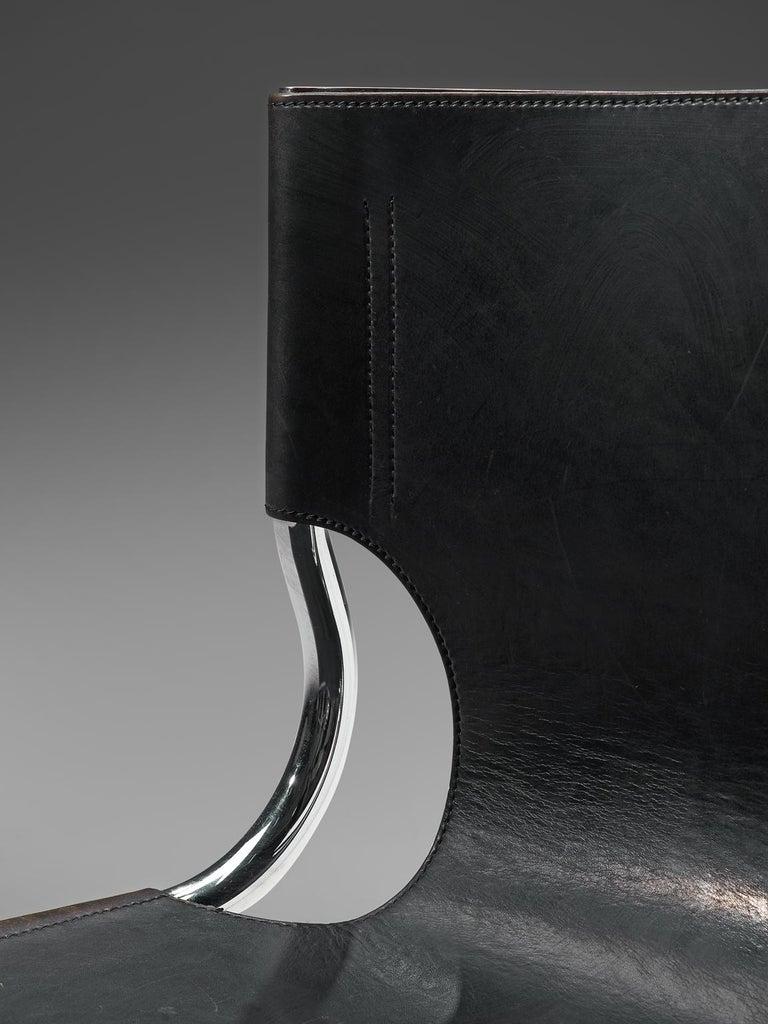 Steel Claudio Bartoli Set of Tubular Dining Chairs For Sale