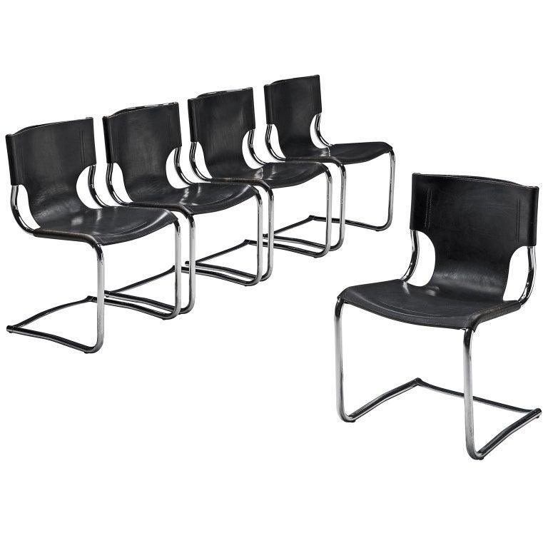 Claudio Bartoli Set of Tubular Dining Chairs For Sale