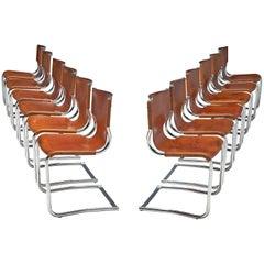 Carlo Bartoli Set of Twelve Tubular Dining Chairs in Cognac Leather