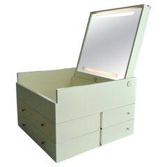 Claudio Salocchi 1968 White Vintage Dresser Back-Lit Tilt Mirror, Sormani, Italy