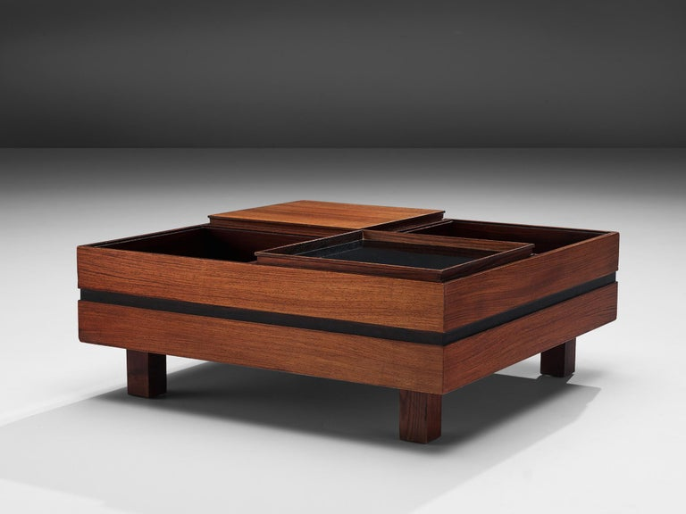 Mid-20th Century Claudio Salocchi Coffee Table in Rosewood and Walnut For Sale