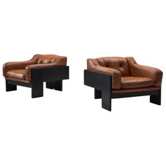 Claudio Salocchi Pair of 2 'Oriolo' Club Chairs in Cognac Leather