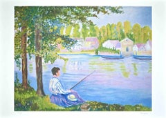 Spring on the Lake - Original Lithograph by Claudio Tessari - 1980s