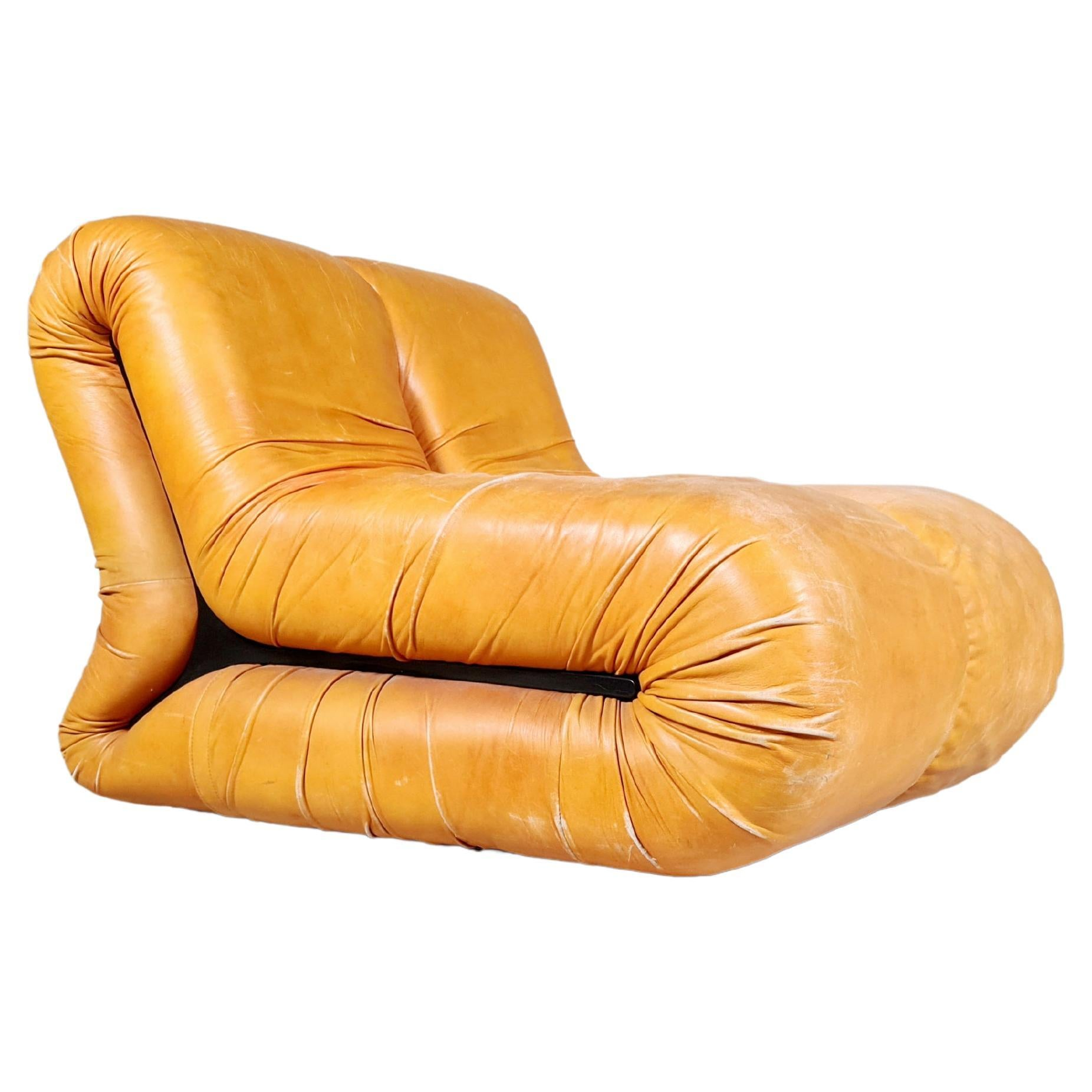 Claudio Vagnoni for 1P, 'Pagru' Lounge Chair in Original Leather, 1960s