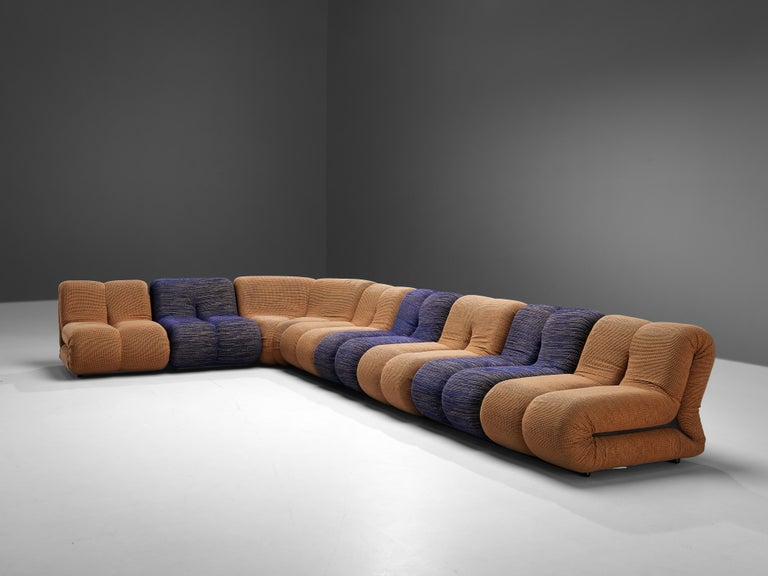Mid-Century Modern Claudio Vagnoni for 1P 'Pagru' Modular Sofa in Blue and Brown Upholstery For Sale