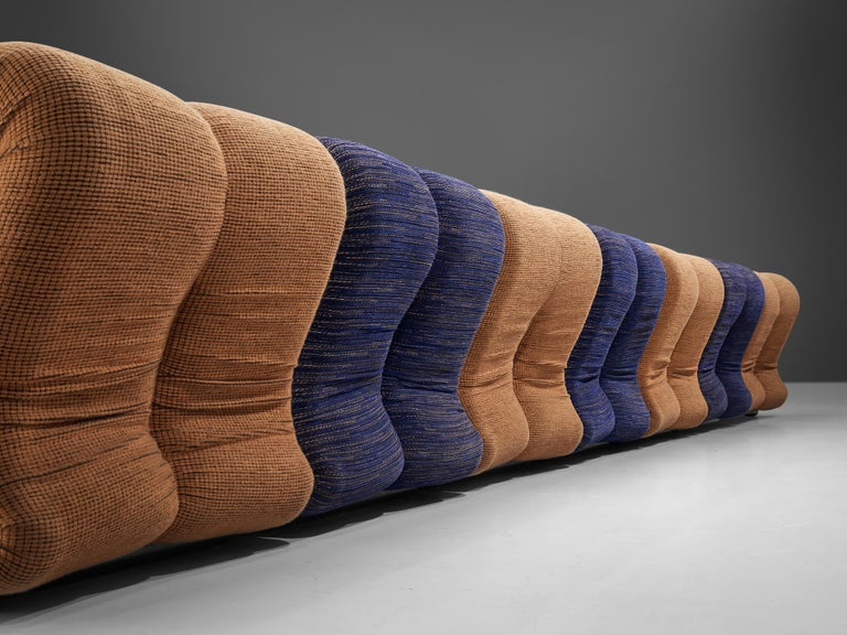 Italian Claudio Vagnoni for 1P 'Pagru' Modular Sofa in Blue and Brown Upholstery For Sale