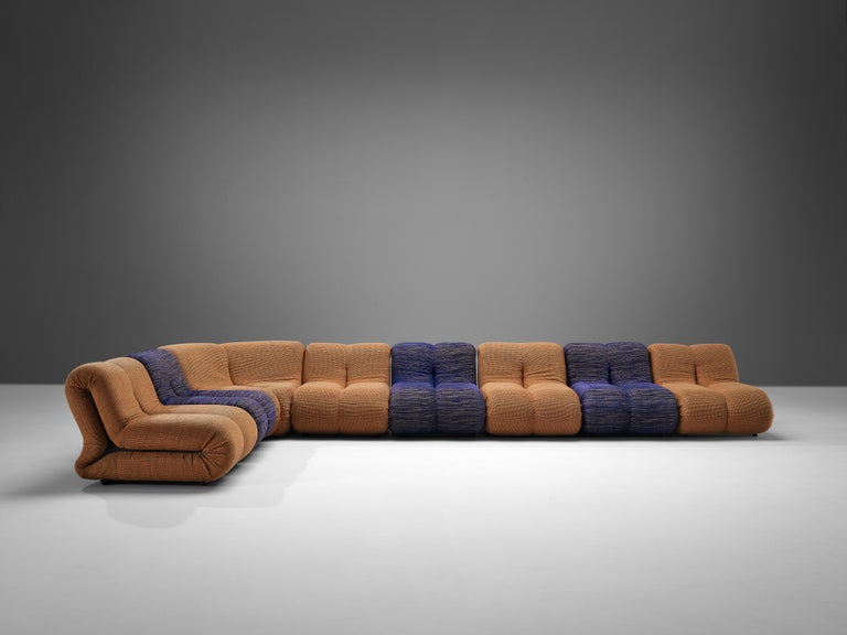 Claudio Vagnoni for 1P 'Pagru' Modular Sofa in Blue and Brown Upholstery In Good Condition For Sale In Waalwijk, NL
