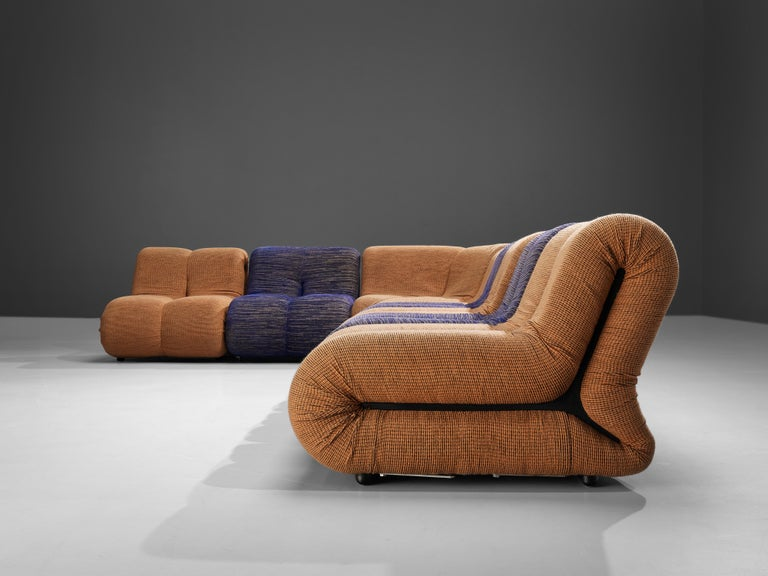 Fabric Claudio Vagnoni for 1P 'Pagru' Modular Sofa in Blue and Brown Upholstery For Sale