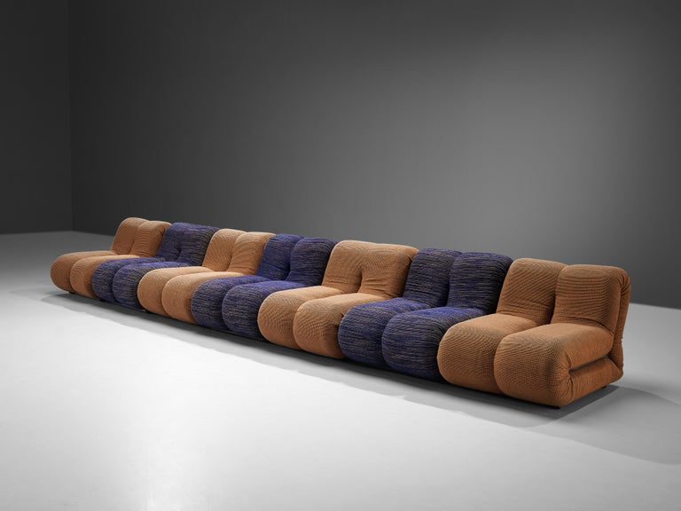 Claudio Vagnoni for 1P 'Pagru' Modular Sofa in Blue and Brown Upholstery For Sale 1