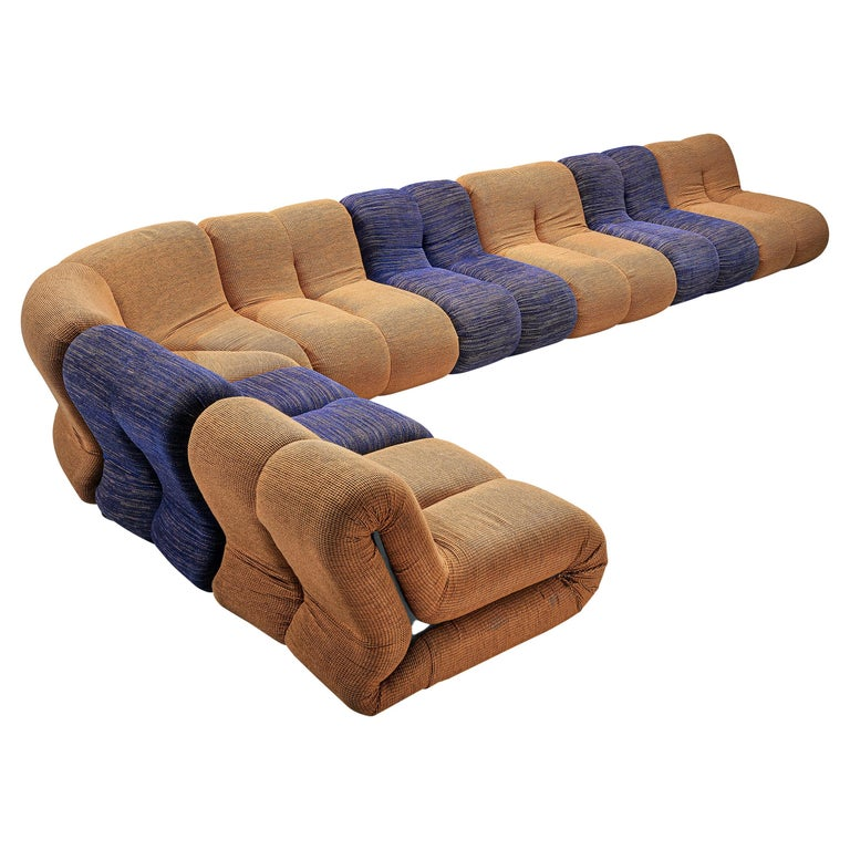 Claudio Vagnoni for 1P 'Pagru' Modular Sofa in Blue and Brown Upholstery For Sale