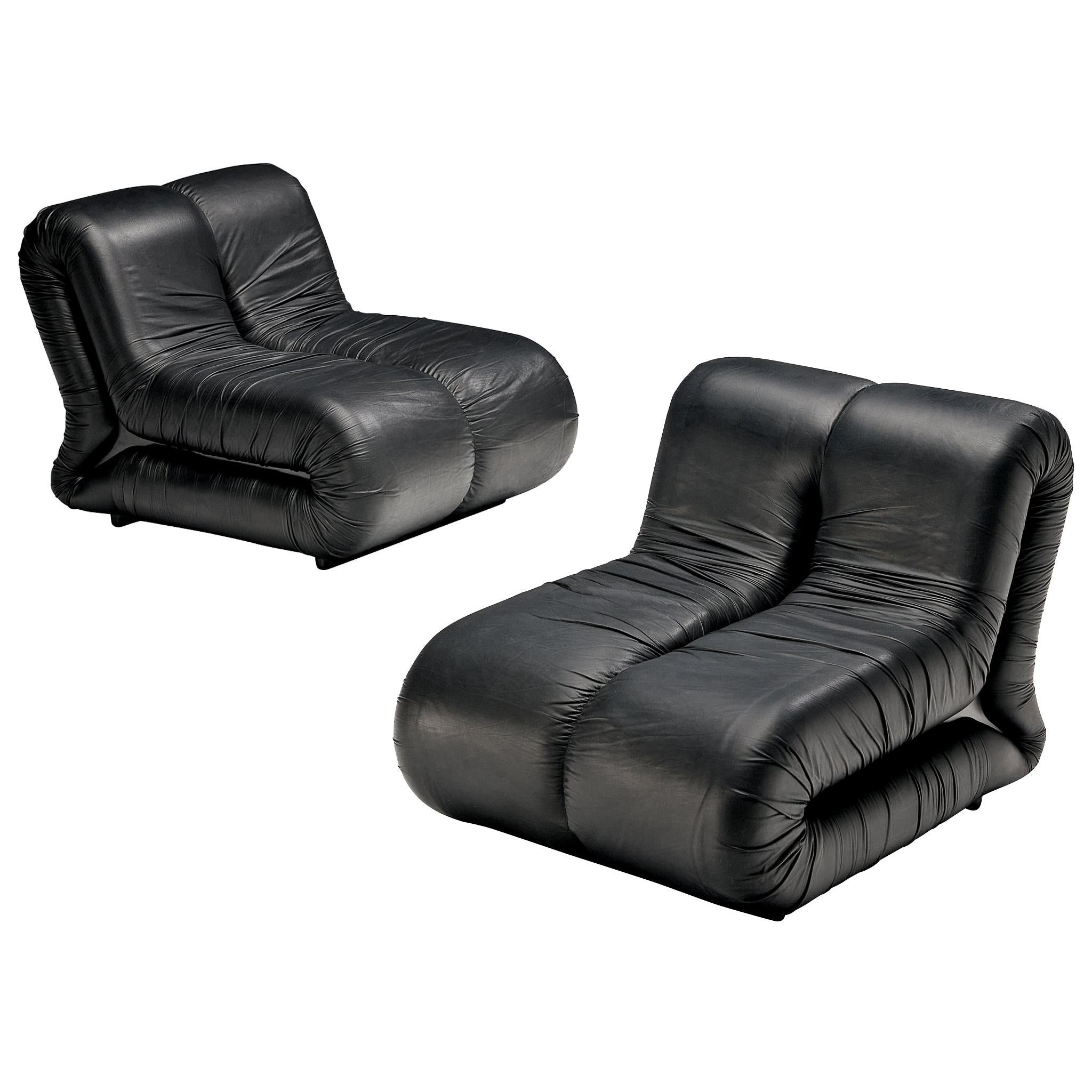 Claudio Vagnoni for 1P Pair of 'Pagru' Lounge Chairs in Black Leather
