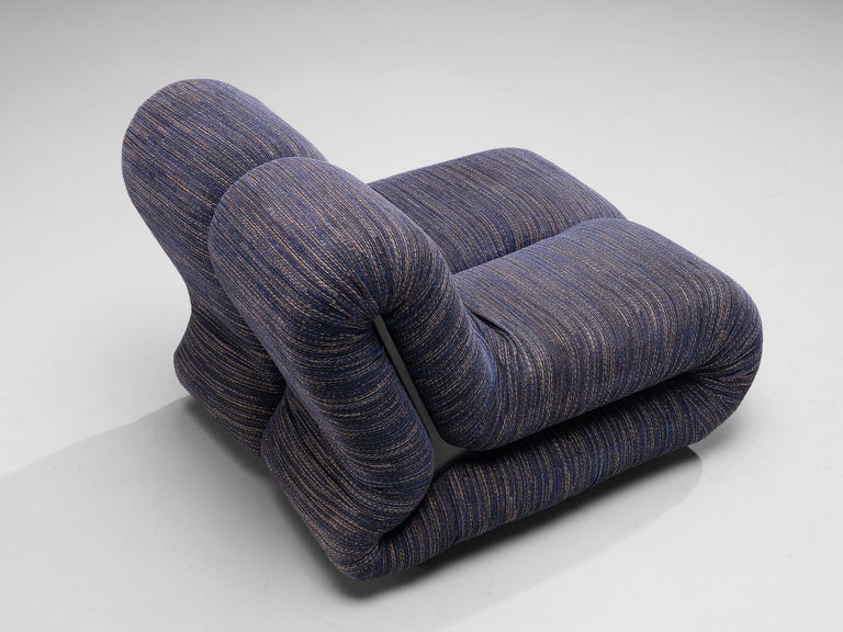 Claudio Vagnoni for 1P Pair of 'Pagru' Lounge Chairs in Blue Upholstery In Good Condition For Sale In Waalwijk, NL