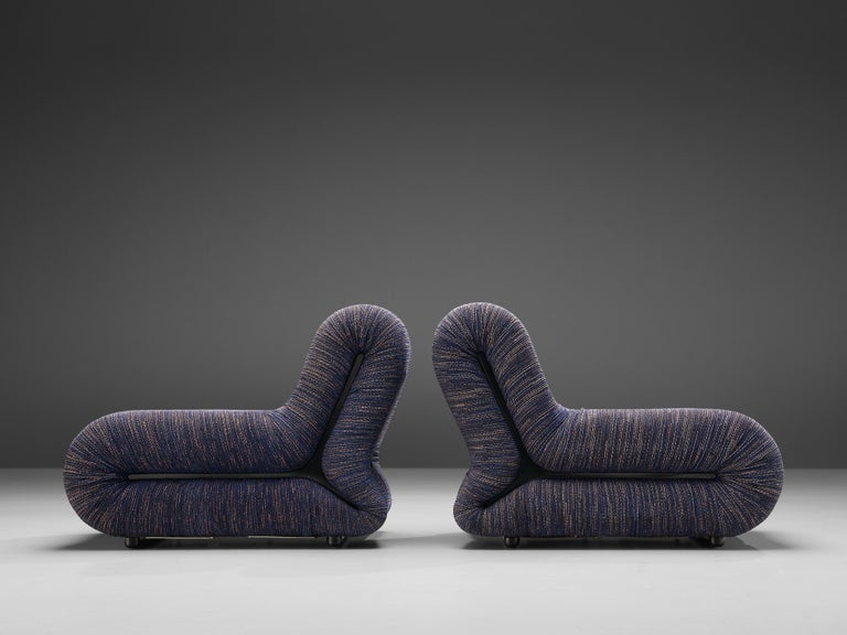 Mid-20th Century Claudio Vagnoni for 1P Pair of 'Pagru' Lounge Chairs in Blue Upholstery For Sale