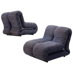 Claudio Vagnoni for 1P Pair of 'Pagru' Lounge Chairs in Blue Upholstery