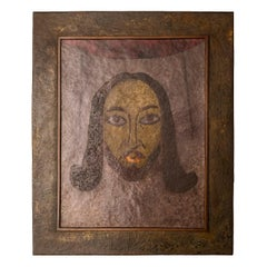 Claudius Linossier, Copper Work, Face of Christ, Signed, France