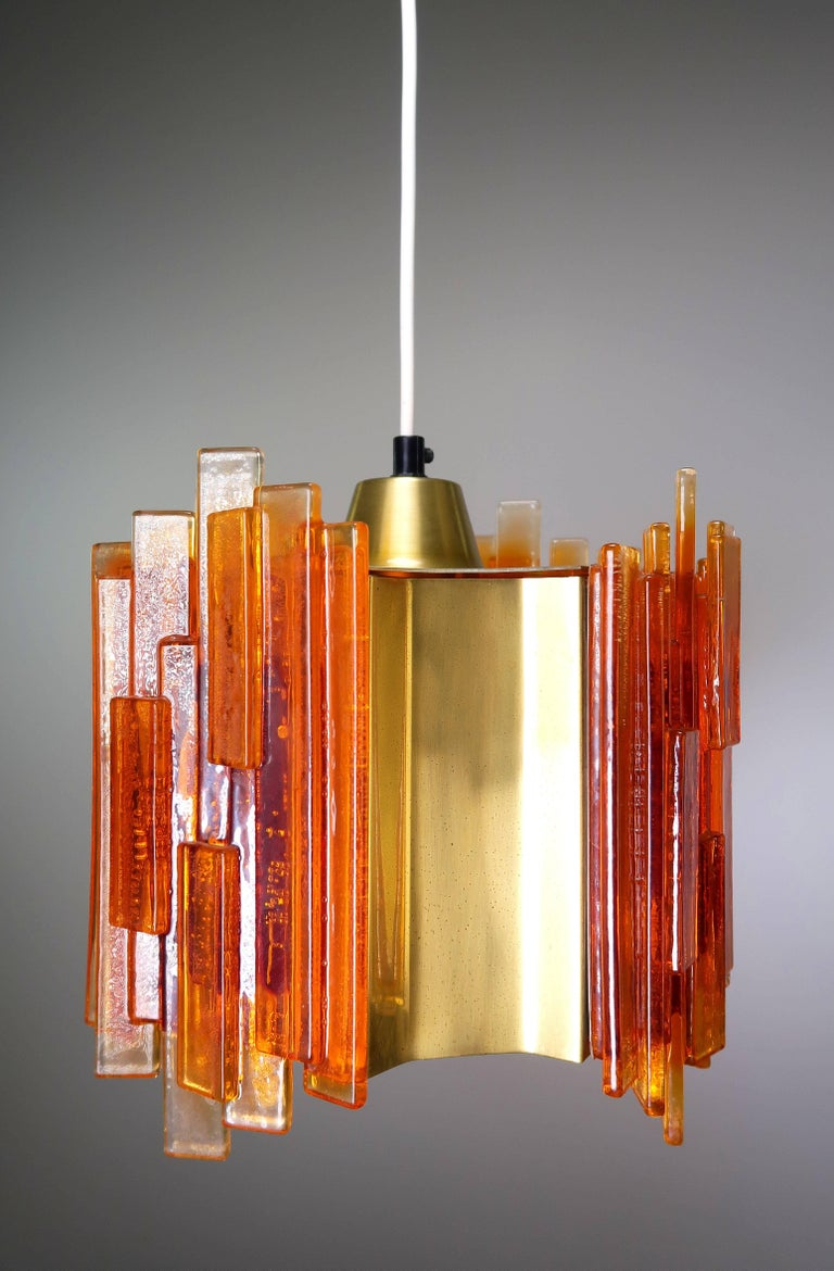 Mid-Century Modern Claus Bolby Danish Space Age Orange Sculpted Acrylic and Brass Pendant, 1970s For Sale