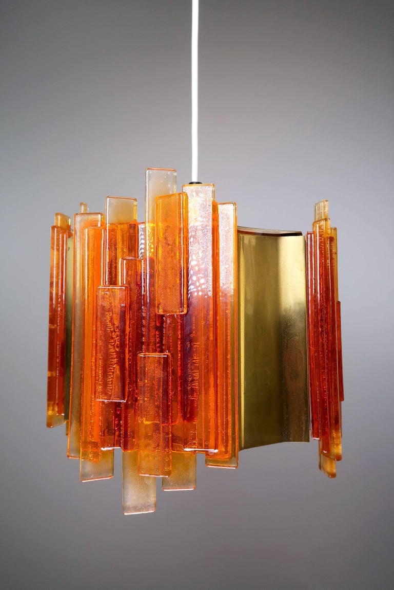 Claus Bolby Danish Space Age Orange Sculpted Acrylic and Brass Pendant, 1970s In Good Condition For Sale In Frederiksberg, DK