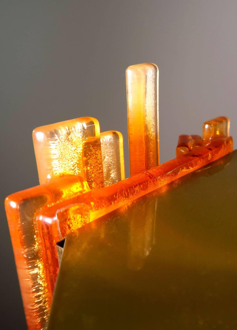 Claus Bolby Danish Space Age Orange Sculpted Acrylic and Brass Pendant, 1970s For Sale 3