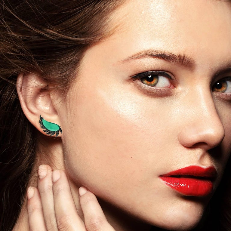 Contemporary Claw Half Moon Studs Green Chalcedony and Black Diamonds For Sale