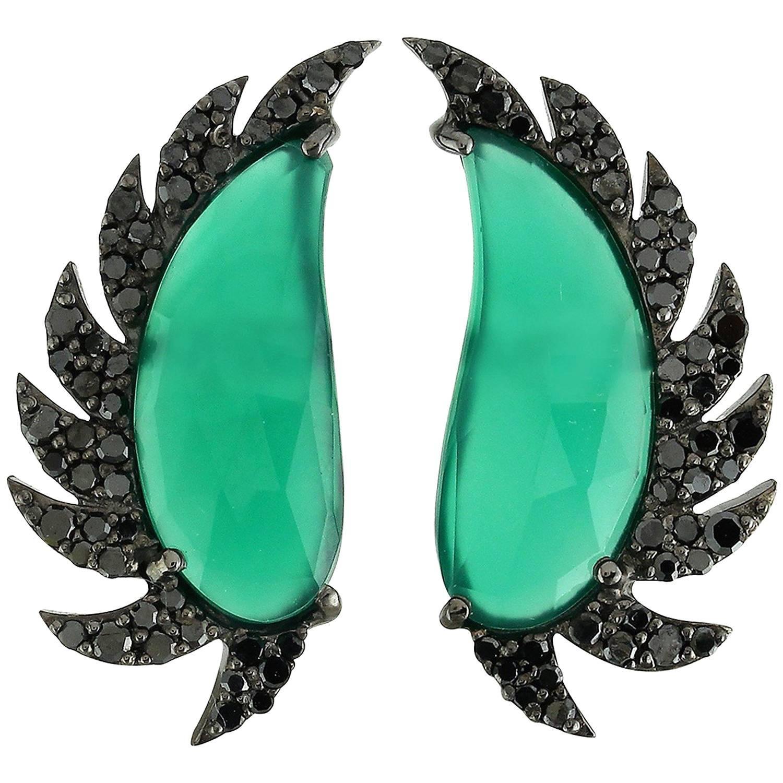Meghna Jewels Claw Half Moon Green Onyx Black Diamonds Stud Earrings