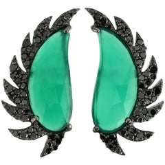 Meghna Jewels Claw Half Moon Studs Green Chalcedony and Black Diamonds