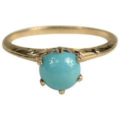 Claw Set Persian Turquoise Gold Ring