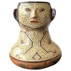 Shipibo Peruvian Clay Face Vase