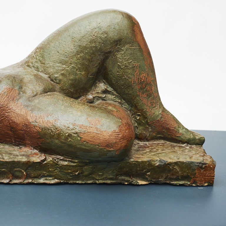 Modern Clay Sculpture, Nude Woman Lying Down For Sale