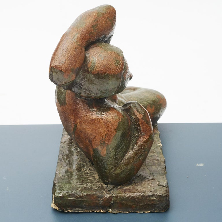 Danish Clay Sculpture, Nude Woman Lying Down For Sale