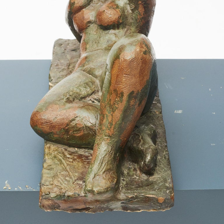 Clay Sculpture, Nude Woman Lying Down In Good Condition For Sale In Nordhavn, DK