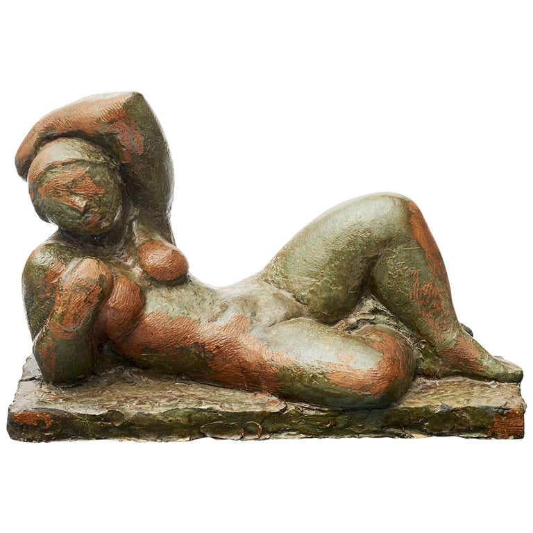 Clay Sculpture, Nude Woman Lying Down For Sale