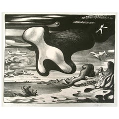 "Clay Spohn California/New York Surrealist Lithograph, ""Setting for a Clam Bake"""