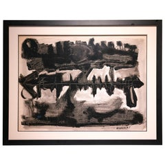 Clay Walker Painting 1957 American Modern Painter Gauche Black and White