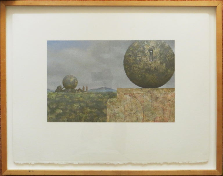 Landscape With Two Spheres - Painting by Clayton Anderson