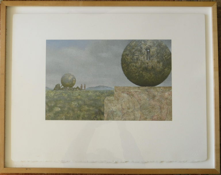 Landscape With Two Spheres - Surrealist Painting by Clayton Anderson