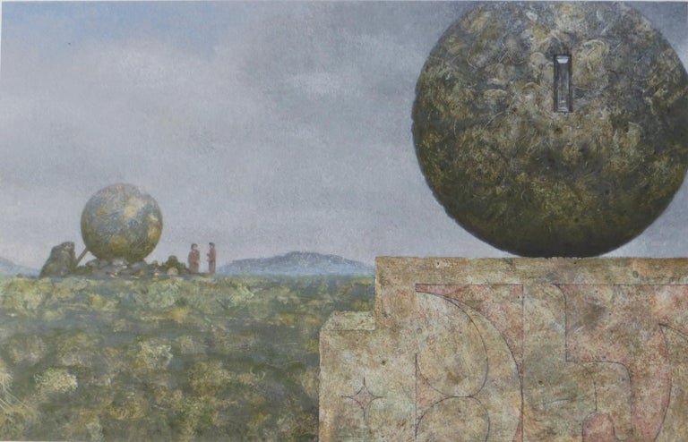 Landscape With Two Spheres - Gray Landscape Painting by Clayton Anderson