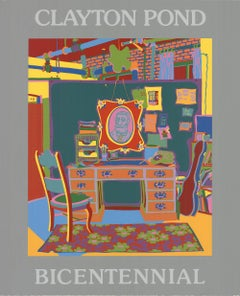 "Clayton Pond-My Grandmother's Fan-34.5"" x 28""-Serigraph-1976-Surrealism"