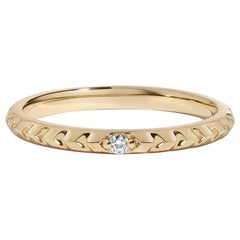 Clea Ring, Textured Yellow Gold Ring with Diamond