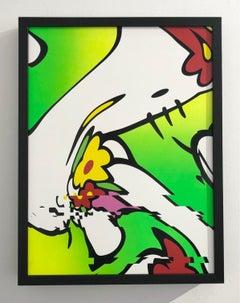 Neon Pu$$y framed in a black shadow box