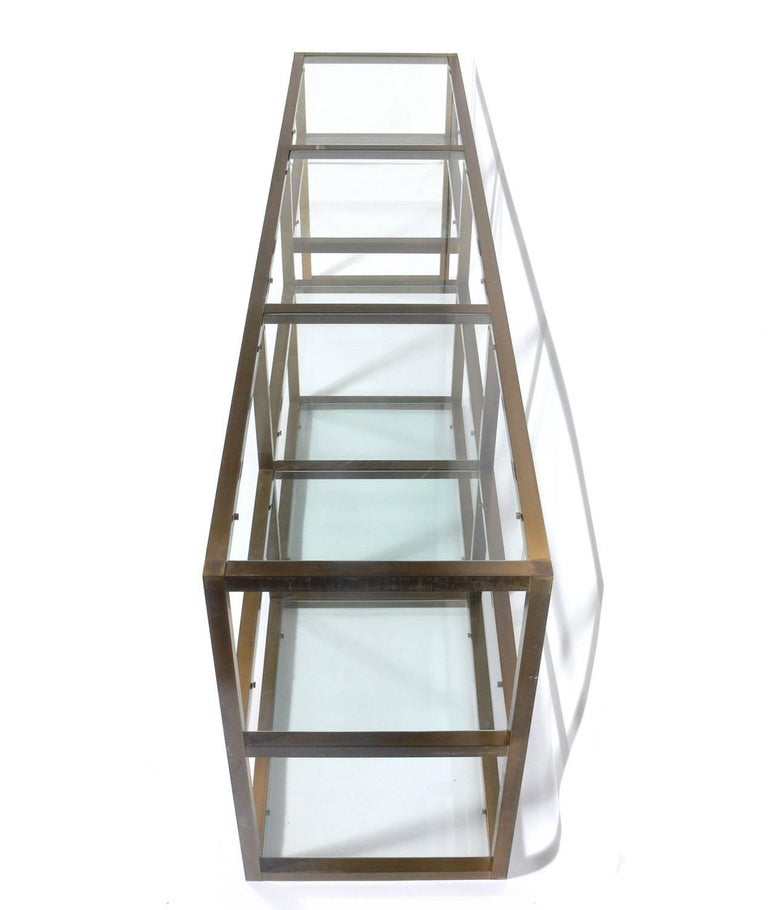 Mid-Century Modern Clean Lined Brass and Glass Bookshelf or Vitrine For Sale