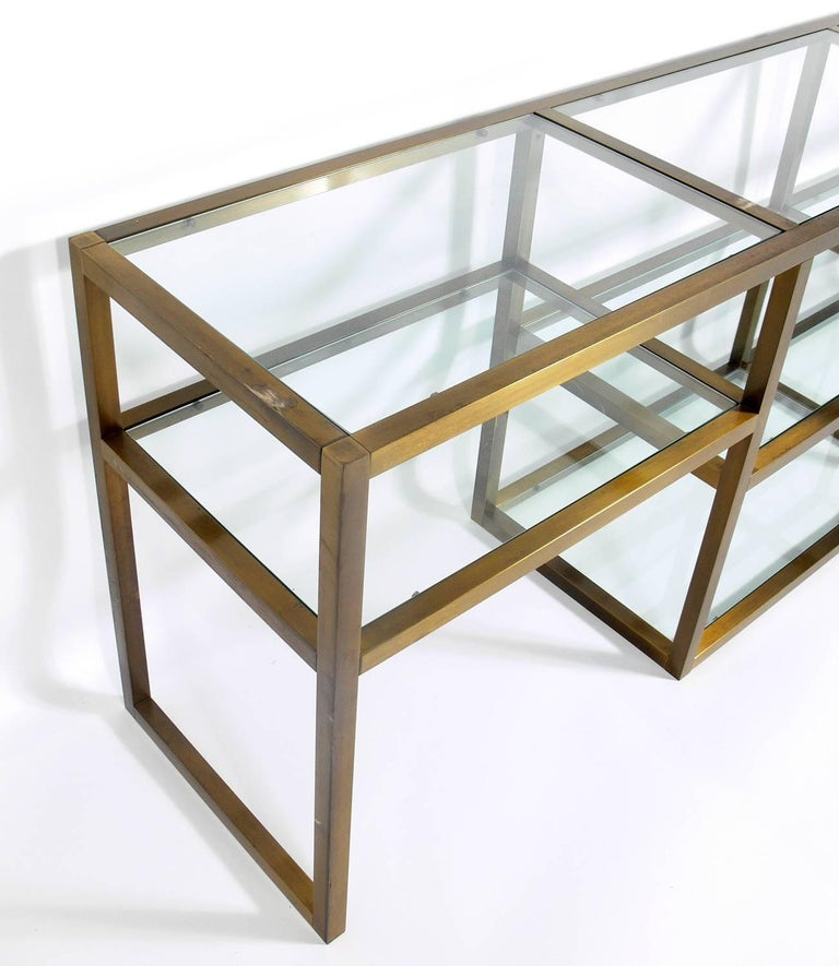 American Clean Lined Brass and Glass Bookshelf or Vitrine For Sale