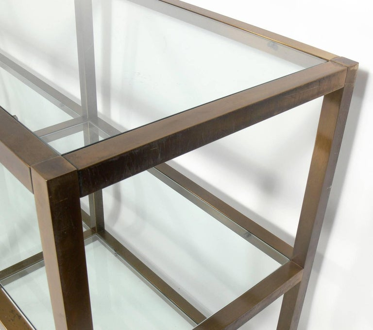 Clean Lined Brass and Glass Bookshelf or Vitrine In Good Condition For Sale In Atlanta, GA