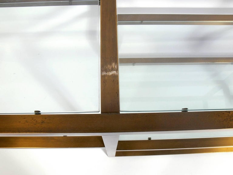 Mid-20th Century Clean Lined Brass and Glass Bookshelf or Vitrine For Sale