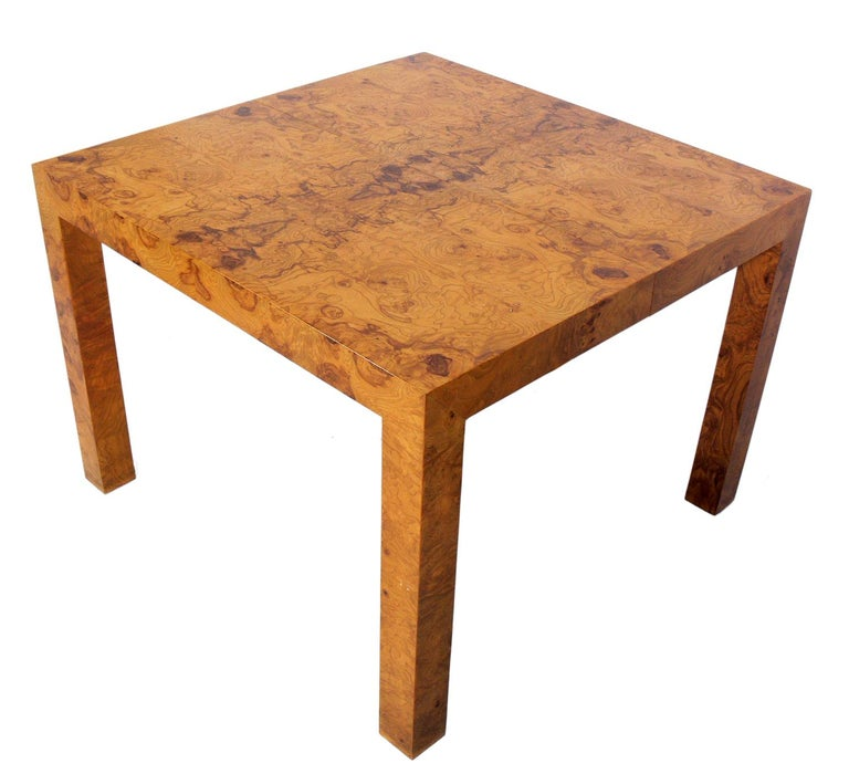 Wood Dining Table For Sale: Clean Lined Burl Wood Dining Table By Milo Baughman For