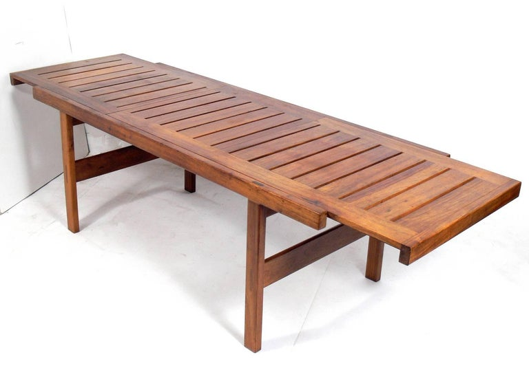 Wood Clean Lined Midcentury Dining Table by John Tabraham For Sale