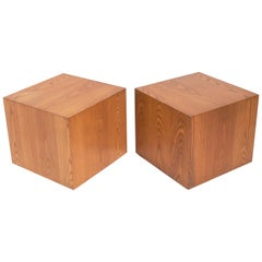 Clean Lined Oak Cube Tables by Edward Axel Roffman
